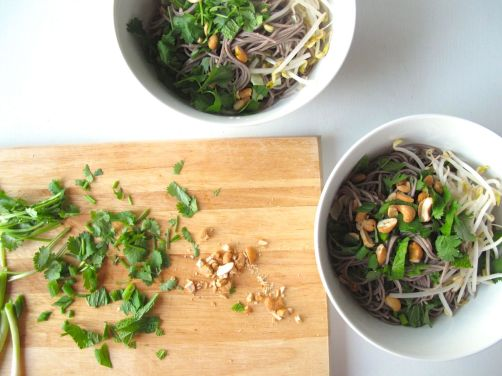 Making Vietnamese Style Soba (Bun Chay) with Baked Peanut Tofu
