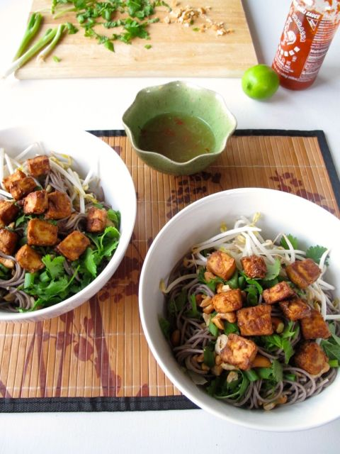 Vietnamese Style Soba (Bun Chay) with Baked Peanut Tofu and Nuoc Cham Sauce