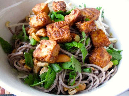 Vietnamese Style Soba (Bun Chay) with Baked Peanut Tofu