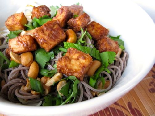 Vietnamese Style Soba Noodle Salad with Baked Peanut Tofu