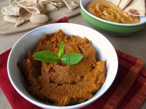 Muhammara, Roasted Red Pepper Hummus, and Pita Bread