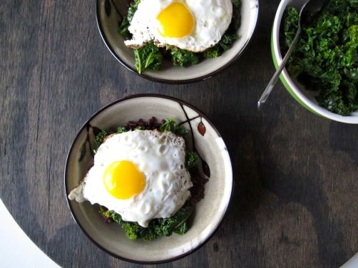 Kale and Fried Eggs over Rice