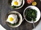 Kale & Fried Eggs Over Rice
