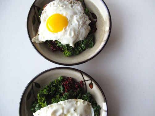 Kale & Fried Eggs over Black Rice