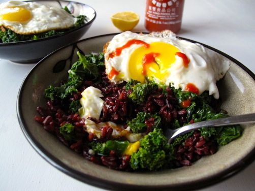 Kale and Fried Eggs over Black Rice