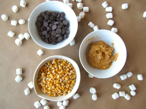 Ingredients for Peanut Butter Popcorn Balls with Chocolate