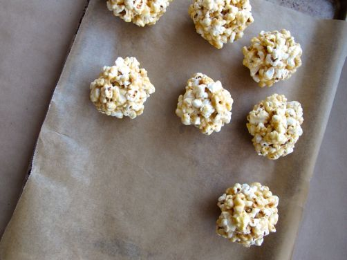 Making Peanut Butter Popcorn Balls with Chocolate