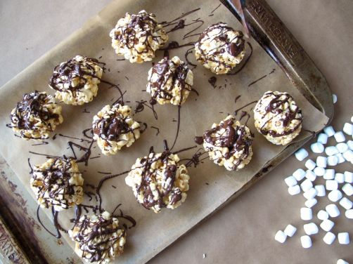 Peanut Butter Popcorn Balls with Chocolate