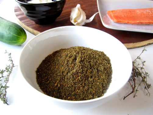 Ingredients for Za'atar Crusted Salmon with Tzatziki Yogurt Sauce
