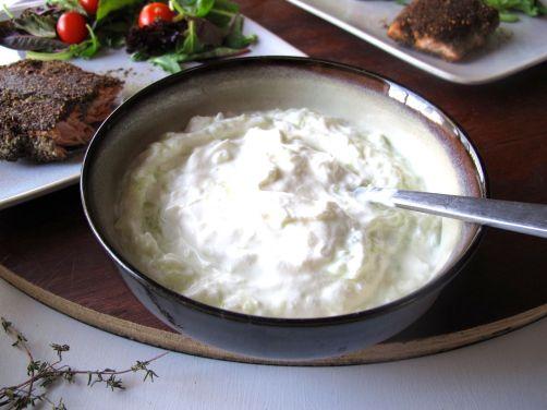 Tzatziki Yogurt Sauce with Garlic and Cucumber