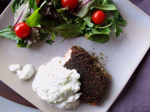 Za'atar Crusted Salmon with Tzatziki Yogurt Sauce