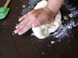 Kneading Dough for Pomegranate Rosemary Focaccia