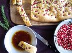 Pomegranate Rosemary Focaccia with Dipping Sauce
