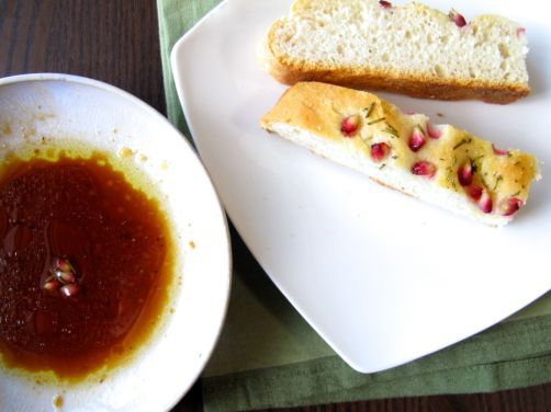 Pomegranate Rosemary Focaccia with Pomegranate Molasses Dipping Sauce