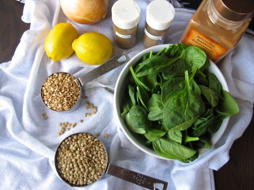 Ingredients for Lemony Lentil Spinach Soup