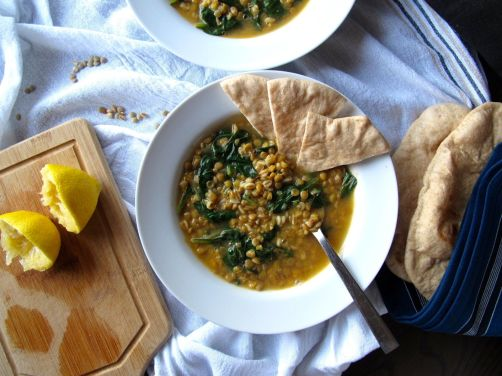 Lemony Lentil Spinach Soup