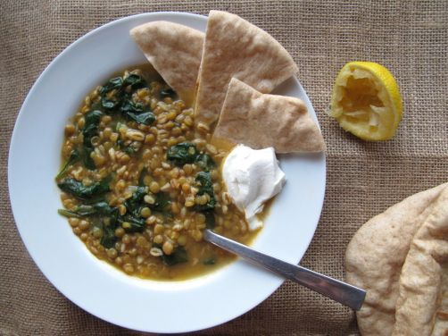 Lemony Lentil Spinach Soup with Pita Bread and Labne