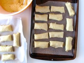 Pumpkin Cheese Blintzes waiting to be fried