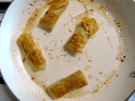 Frying Pumpkin Cheese Blintzes