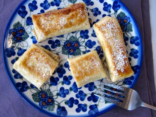 Pumpkin Cheese Blintzes, caramelized in butter and sugar