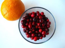 Ingredients for cranberry sauce with orange zest to swirl into Cranberry Challah