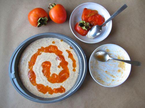 Swirling Ripe Hachiya Persimmon into Persimmon Hazelnut Cake