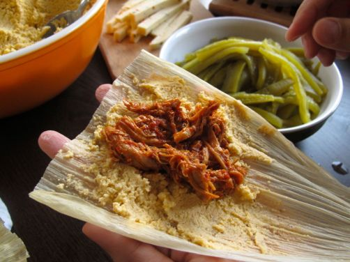 Making Adobo Chicken Tamales