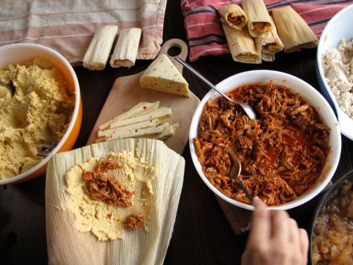 Assembling the Adobo Chicken Tamales