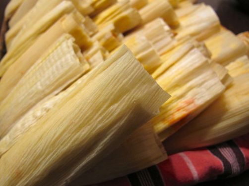 Folded tamales, ready for steaming