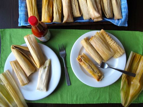 Adobo Chicken and Chile Cheese Tamales