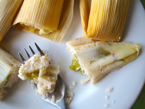 Tamales with green chile and pepperjack cheese