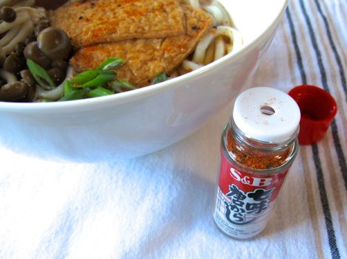 Kitsune Udon in Mushroom Ginger Broth and close-up of Shichimi Togarashi chili powder