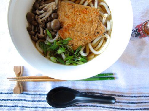 Kitsune Udon in Mushroom Ginger Broth
