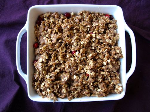 Making Pear Cranberry Crisp with cardamom (gluten-free)