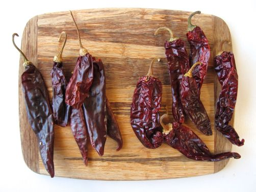 Guajillo and California chile peppers for Chicken Pozole