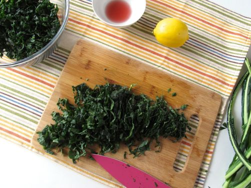 Slicing kale for Tuscan Kale Salad