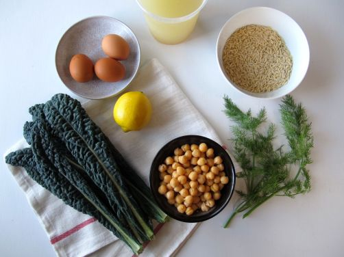 Ingredients for Avgolemono - Greek Egg Lemon Soup with Chickpeas and Kale