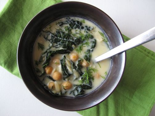 Avgolemono - Greek Egg Lemon Soup with Chickpeas and Kale
