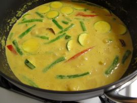 Simmering Easy Thai Peanut Curry, almost done cooking