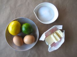Ingredients for Lemon Lime Curd to fill Thumbprint Cookies