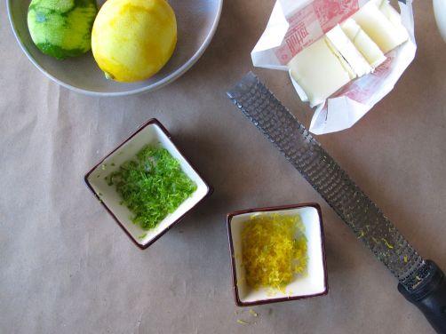 Lemon and lime zest for Lemon Lime Thumbprint Cookies