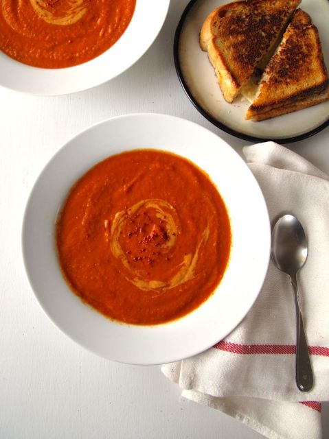 Spicy Tomato Soup with Grilled Cheese
