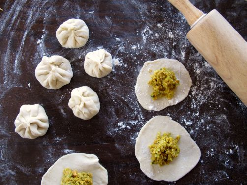 Folding Nepali Momos (Steamed Dumplings)