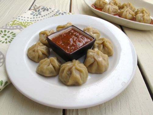 Nepali Momos (Steamed Dumplings) with Tomato Chutney