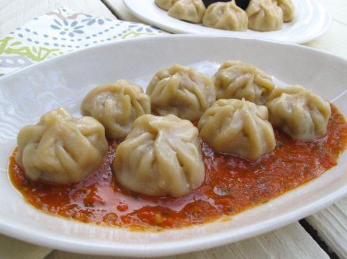 Nepali Momos (Steamed Dumplings) with Tomato Chutney