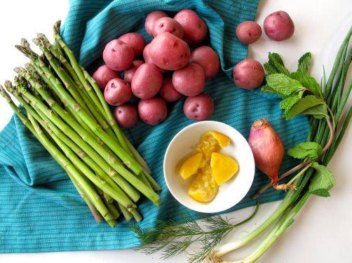Ingredients for Asparagus Salad with Preserved Lemon Dressing and Passover Potatoes