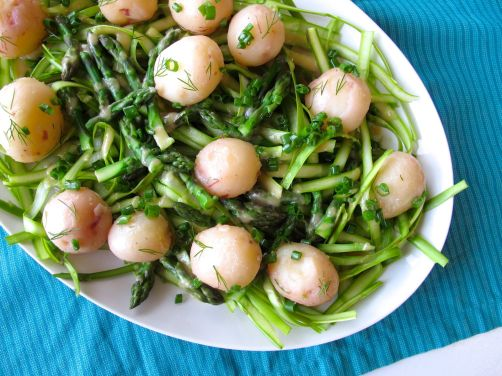 Asparagus Salad with Preserved Lemon Dressing and Passover Potatoes