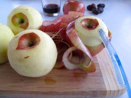 Peeling apples for Charoset