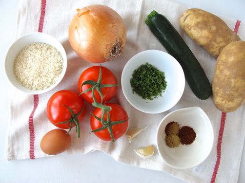 Ingredients for Albondigas Soup (Mexican turkey and rice meatball soup)