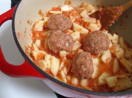 Making Albondigas Soup (Mexican turkey and rice meatball soup)